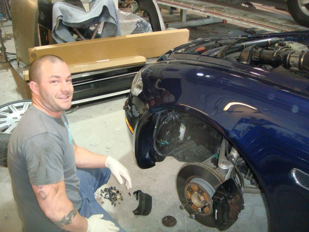 Before and after photographs of a damaged, blue, Maserati that was repaired by Elite Paint & Body Shop in West Palm Beach, FL.